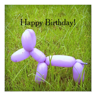 Balloon Dog Birthday Card (with Envelope) 13 Cm X 13 Cm Square Invitation Card