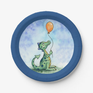 """Balloon Dragon 7"""" Paper Plate 7 Inch Paper Plate"""