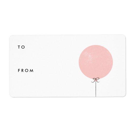 Balloon Gift Tag Label - Peach