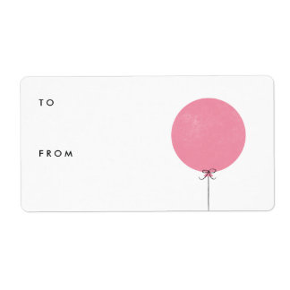 Balloon Gift Tag Label - Rose