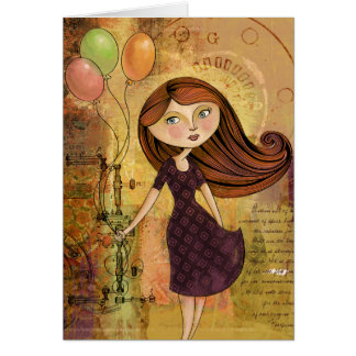 Balloon Girl Digital Collage Blank Greeting Card