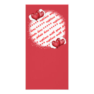 Balloon Hearts with Little Hearts Photo Frame Personalised Photo Card