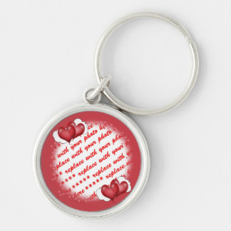 Balloon Hearts with Little Hearts Photo Frame Silver-Colored Round Key Ring