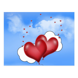 Balloon Hearts With Little Hearts Post Card
