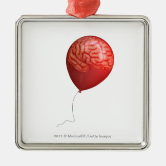 Balloon illustration with a superimposed brain christmas ornament