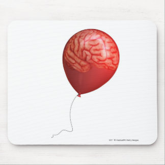 Balloon illustration with a superimposed brain mouse mat