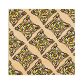 Balloon mandala. Wooden Coaster bohemian pattern Maple Wood Coaster
