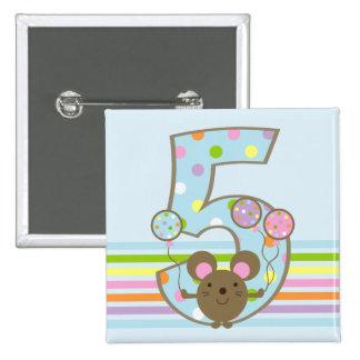 Balloon Mouse Blue 5th Birthday Button