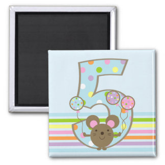 Balloon Mouse Blue 5th Birthday Refrigerator Magnet