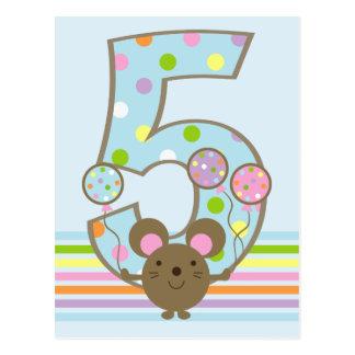 Balloon Mouse Blue 5th Birthday Postcard