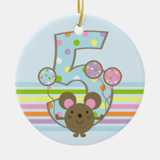 Balloon Mouse Blue 5th Birthday Round Ornament