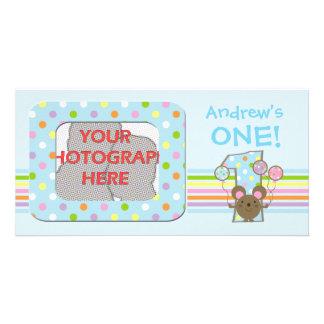 Balloon Mouse Blue Birthday Photo Card