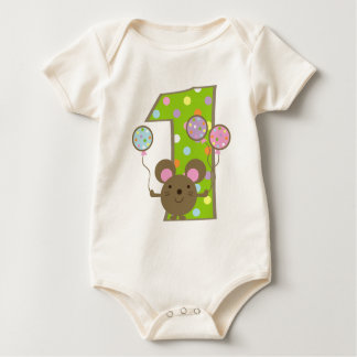 Balloon Mouse Green 1st Birthday T-Shirt