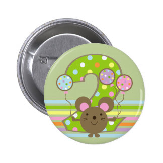 Balloon Mouse Green 2nd Birthday Round Button