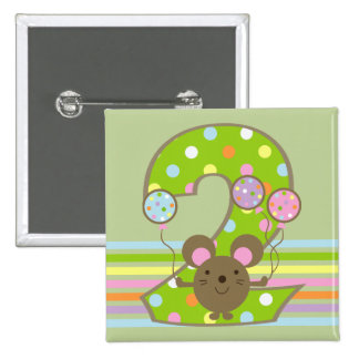 Balloon Mouse Green 2nd Birthday Square Button