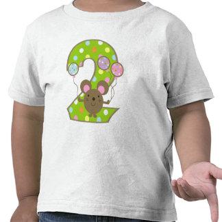 Balloon Mouse Green 2nd Birthday T-Shirt