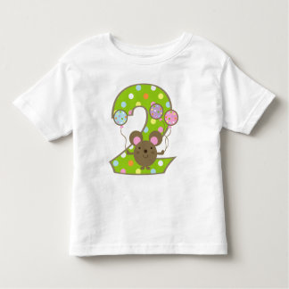 Balloon Mouse Green 2nd Birthday T-Shirt