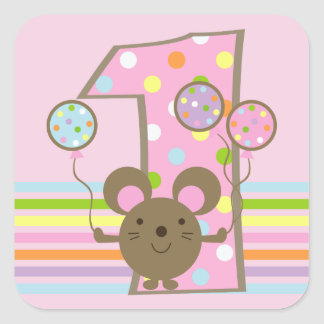 Balloon Mouse on Pink 1st Birthday Square Stickers