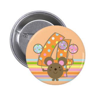 Balloon Mouse Orange 4th Birthday Button