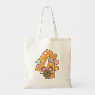 Balloon Mouse Orange 4th Birthday Bag