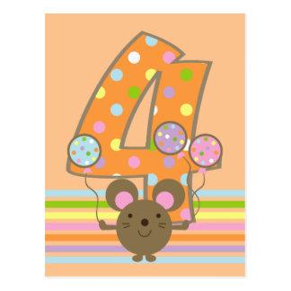 Balloon Mouse Orange 4th Birthday Postcard