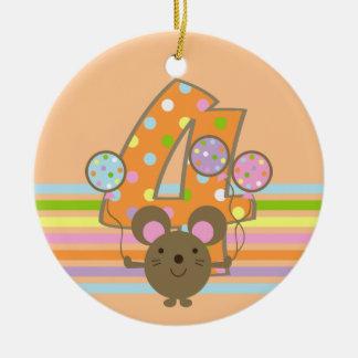 Balloon Mouse Orange 4th Birthday Round Ornament