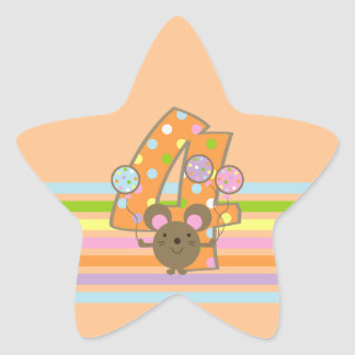 Balloon Mouse Orange 4th Birthday Star Stickers