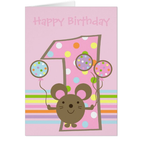 Balloon Mouse Pink Happy 1st Birthday Card