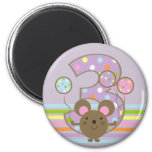 Balloon Mouse Purple 3rd Birthday Magnet