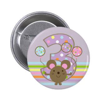 Balloon Mouse Purple 3rd Birthday Round Button