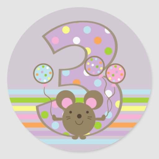 Balloon Mouse Purple 3rd Birthday Round Stickers