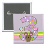 Balloon Mouse Purple 3rd Birthday Square Button