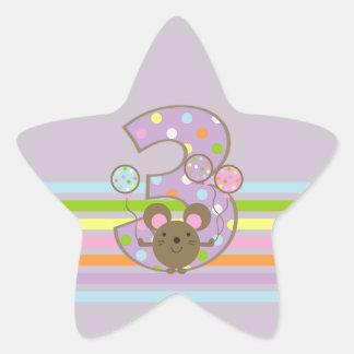Balloon Mouse Purple 3rd Birthday Star Stickers