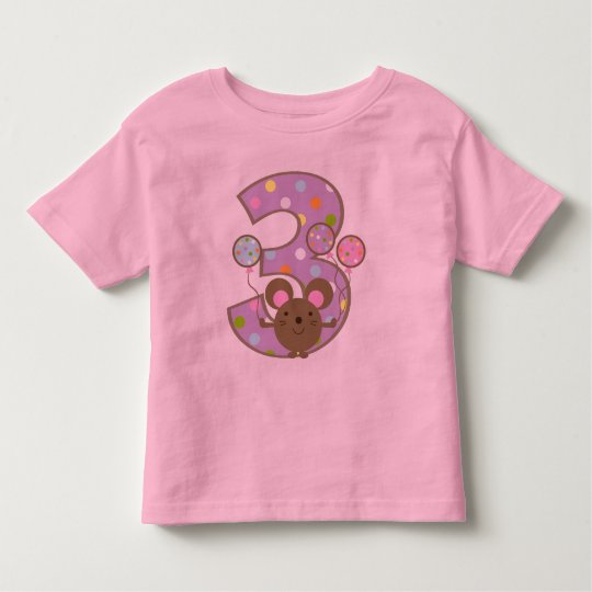 Balloon Mouse Purple 3rd Birthday Toddler T-Shirt