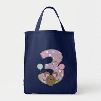 Balloon Mouse Purple 3rd Birthday Tote Bag