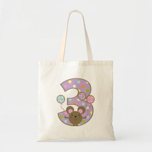Balloon Mouse Purple 3rd Birthday Tote Bag