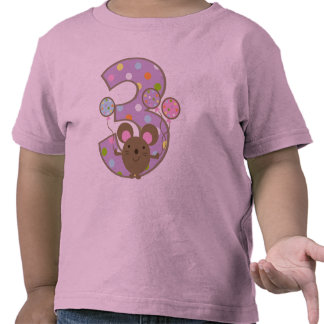 Balloon Mouse Purple 3rd Birthday Shirts
