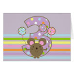 Balloon Mouse Purple Happy 3rd Birthday Card