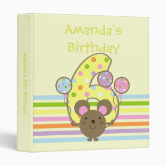 Balloon Mouse Yellow 6th Birthday Binder