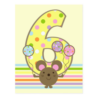Balloon Mouse Yellow 6th Birthday Postcard