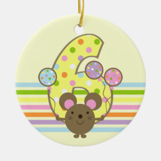 Balloon Mouse Yellow 6th Birthday Round Ornament
