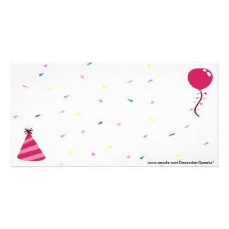 Balloon/Party hat & Confetti-pink Personalized Photo Card