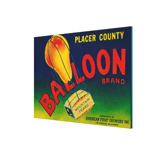 Balloon Pear Crate Label Gallery Wrap Canvas