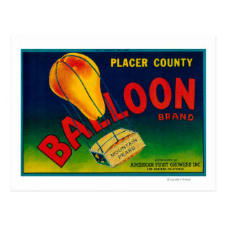 Balloon Pear Crate Label Postcards
