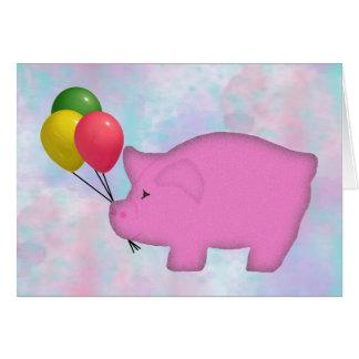 Balloon Pig Birthday Card
