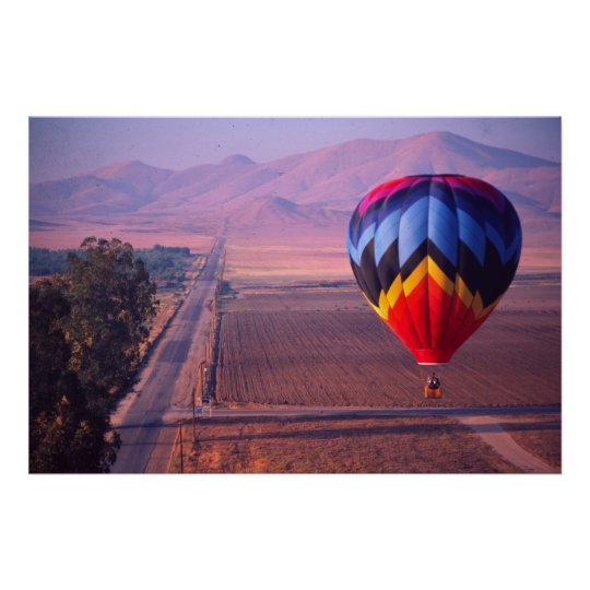 Balloon view at sunrise poster