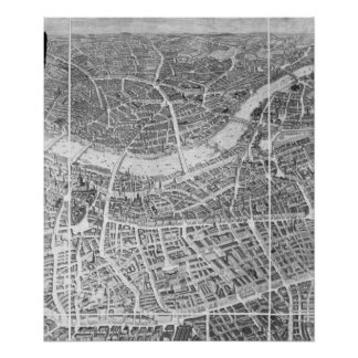 Balloon View of London, 1851 Poster