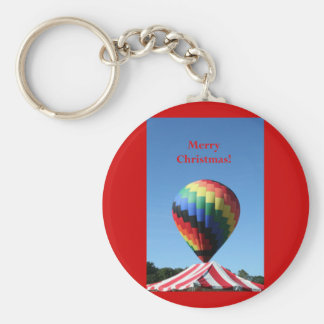Balloon with a Candy Cane tent!  Merry Christmas! Basic Round Button Key Ring