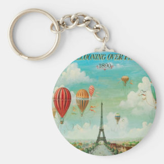 Ballooning Over Paris Basic Round Button Key Ring