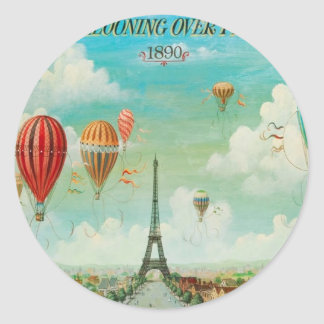 Ballooning Over Paris Classic Round Sticker